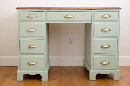 Vintage Desk Painted Sage Green