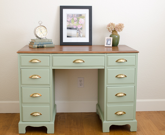 Vintage 7 Drawer Desk Painted Sage