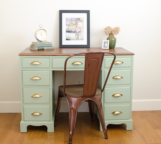 Vintage 7 Drawer Sage Wood Desk Makeover
