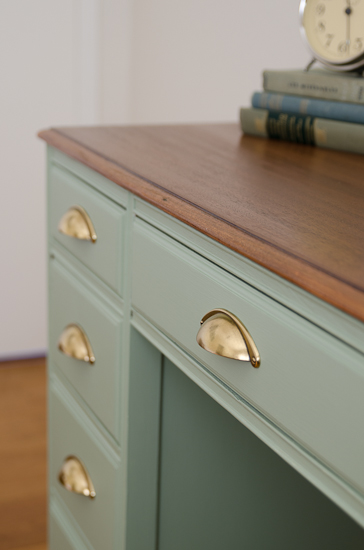 Vintage Sage Desk Makeover With Brass Pulls