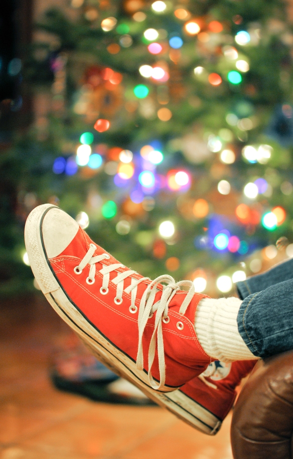 Christmas Tree, Bokeh, Red Converse Shoes